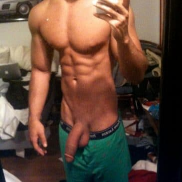 Hunk Guy Let His Dick Peek Out From Undies