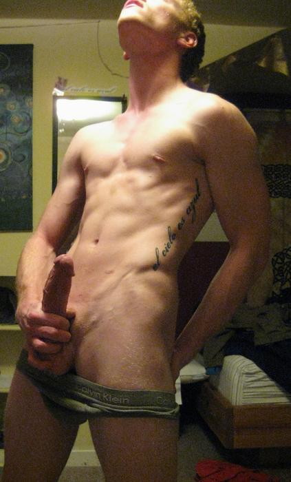Nude Muscle Boy Jerking His Big Cock